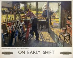 On Early Shift, Greenwood Signal box, New Barnet, London. BR Vintage Travel Poster by Terence Cuneo Train Posters, Railway Posters, National Railway Museum, Fine Art Prints, Canvas Prints, Retro Poster, Train Art, British Rail, Advertising Poster