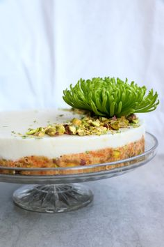 Raw Carrot Cake with Pistachios & Lime Coconut Frosting