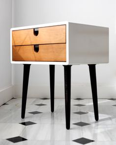 Mid century inspired Nightstand bedside table with body in solid surface Corian and drawers and legs in solid oak
