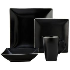 Gibson Home Paradiso 16-Piece Square Dinnerware Set in Black | [New NC Home] | Pinterest | Dinnerware Squares and Stoneware  sc 1 st  Pinterest & Gibson Home Paradiso 16-Piece Square Dinnerware Set in Black | [New ...