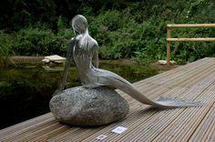 Stainless Steel #sculpture by #sculptor Martin Debenham titled: 'Mermaid 3 (stainless Steel nude Girl Wire statue)'. #MartinDebenham