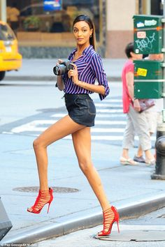 Legs eleven! Jourdan Dunn showed off her endless legs for a photo shoot in NYC on Monday...