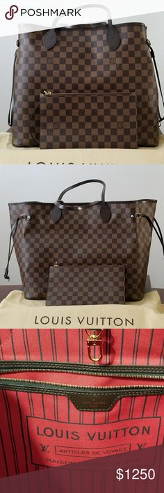 Louis Vuitton Neverfull GM Used Looks brand new Comes with a matching pouch, dust bag, box, and paper bag. This is my first luxury bag. I use a bag organizer from Samorga to keep the inside clean and well  organized. This is THE perfect  bag for Moms like me (3 boys ages 15,9, and 3 😁) You can fit anything and ecerything that you need when travelling. No scratches or anything. Barely used Louis Vuitton Bags Shoulder Bags