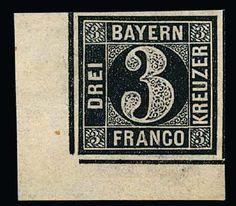 Old German States Bavaria, Michel 2 I P. 3 Kr. black, rare proof being a large corner of the sheet left at the bottom, with wide margins (unbed. Backed), signed Brettl
