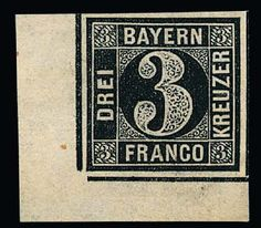Old German States Bavaria, Michel 2 I P. 3 Kr. black, rare proof being a large corner of the sheet left at the bottom, with wide margins (unbed. Backed), signed Brettl