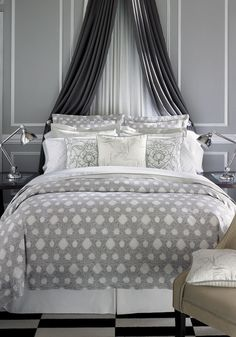 ♅ Dove Gray Home Decor ♅  elegant grey bedroom