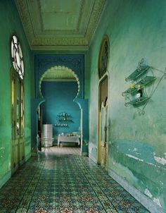 Havana, Cuba by Michael Eastman, Moorish influence in the arches such a pretty blue. Shades Of Turquoise, Bleu Turquoise, Shades Of Blue, Teal, Turquoise Tile, Magic Places, Azul Tiffany, Tiffany Blue, Tadelakt