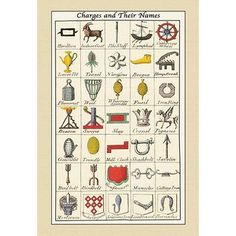 Charges & Their Names by Hugh Clark - Art Print Painting Prints, Canvas Prints, Art Prints, Clark Art, Forest Pictures, Old World Maps, Spring Painting, Coat Of Arms, Wonderful Images