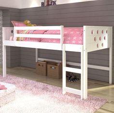 Circles Twin Loft Bed-White Finish