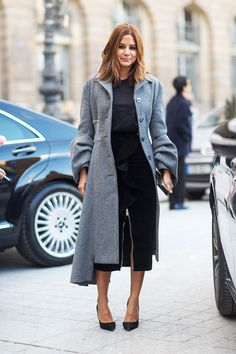 Christine Centenera in Prada coat / Fashion Street Paris Fashion Week Fall 2014.