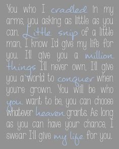 I'd Give My Life For You song lyrics from Miss Saigon - for baby boy nursery