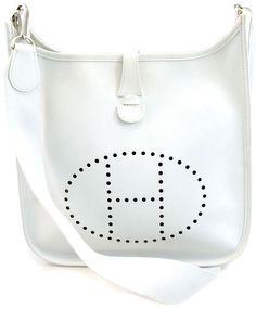 Hermes White Veau Graine Coucherel Evelyn Shoulder Bag