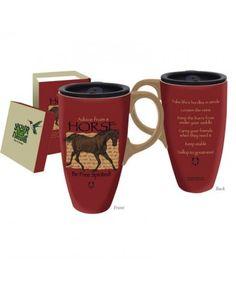 Evergreen Enterprises Boxed Ceramic Travel Latte Mug 17oz, Advice from a Horse