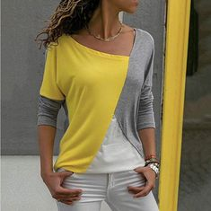 Tee Shirt Femme Graphic Tees Women Tshirt Tops 2018 Cotton T-Shirt Printed Long Sleeve Camisetas Mujer 02 yellow grey XXL Casual Tops For Women, Blouses For Women, Ladies Tops, Women's Blouses, Cheap Blouses, Long Sleeve Shirts, Women's T Shirts, Casual Shirts, Women's Casual