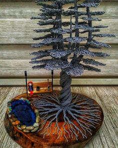 Wire Tree Art Handmade, Gifts for her. A bonsai tree made of wire will perfectly decorate your home interior Wire Art Sculpture, Tree Sculpture, Wire Jewelry Patterns, Macrame Patterns, Copper Wire Art, Bonsai Wire, Wire Trees, Goddess Art, Wire Crafts