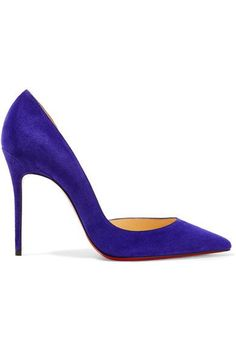 Heel measures approximately 100mm/ 4 inches Purple suede Slip on Made in Italy