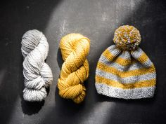 Yellow and Gray Striped Knit Hat