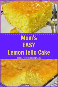 Mom& Lemon Jello Cake with lemon glaze icing is so easy to make, is bursting with LEMON flavor, and will be a big hit with all who try this delicious dessert! via is part of Jello cake - Lemon Jello Cake, Jello Cake Recipes, Cake Mix Recipes, Dessert Recipes, Easy Lemon Cake, Lemon Desserts, Köstliche Desserts, Lemon Recipes, Delicious Desserts