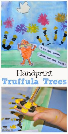 The Lorax handprint truffula trees with kids plus tons of idea to extend this Dr. Seuss book from the Educators' Spin On It