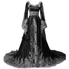 Lemai Vintage Long Sleeves Formal Evening Gowns A Line Women Gothic... ($180) ❤ liked on Polyvore featuring dresses, gowns, formal ball gowns, formal dresses, long sleeve dresses, long sleeve formal gowns and vintage gowns