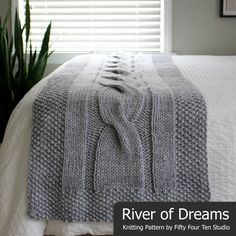 River of Dreams cable bed runner knitting pattern by Fifty Four Ten Studio. Knit with super bulky yarn. Instructions for Twin, Full, Queen & King size accent bed runner blanket. Knitting Terms, Knitting For Charity, Cable Knitting, Knitting Patterns, Knitting Ideas, Knitting Stitches, Make Blanket, Super Bulky Yarn, Bed Runner