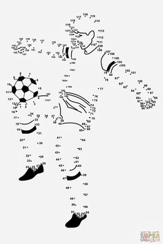 Soccer Player dot to dot Soccer Theme, Soccer Party, Math For Kids, Activities For Kids, Soccer Crafts, Dot To Dot Puzzles, Dot To Dot Printables, Magic Crafts, Kids Math Worksheets