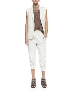 -5HUN Brunello Cucinelli Multi-Strand Leather Necklace, Clean Canvas Snap-Button Vest, Sleeveless Top W/ Croc Texture & Pull-On Napa Leather Pants