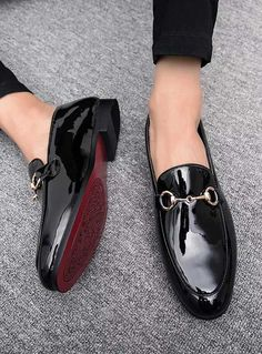 Men's #black patent leather slip on #DressShoes with decorated buckle design on vamp.