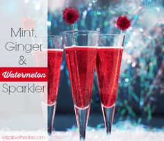 Mint, Ginger,  Watermelon Sparkler - a yummy, refreshing drink to enjoy during the hot months of Summer! Get more summer recipes at www.elizabethrider.com #4thofjuly #summer #recipes