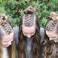 Hair Triplets with hannah_hairstyles and her best friends. Half up Dutch braid into messy buns! Hairstyles For School, Summer Hairstyles, Braided Hairstyles, Half Up Half Down Hair, Hair Hacks, Hair Tips, Braid Styles, Hair Designs, Prom Hair