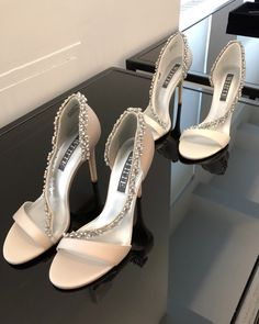22acf6784ded In search of the perfect wedding heel  These crystal satin heels from the  WHITE by
