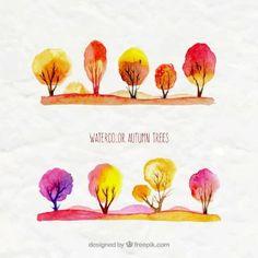 Watercolor autumn trees