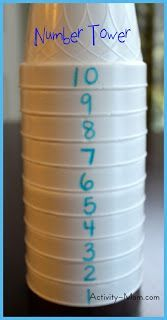 The Activity Mom: Number Towers...what an easy number recognition and ordering activity!