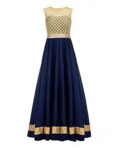 Midnight Blue Anarkali Suit with Golden Mesh Bodice