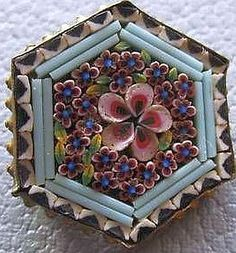 Antique Italian micro-mosaic button