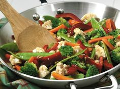 Enjoy these stir-fried vegetables served over rice and have them ready on dinner table in 30 minutes.
