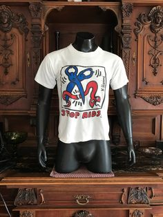 29d283082 Vintage Keith Haring Original Stop Aids T Shirt, Rare Keith Haring Tee,  1980's Red, Hot and Blue K. Haring