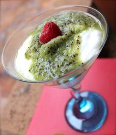 ::a kiwi + Greek yogurt snack::