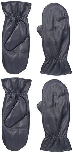 Gloves International Women's Leather Mittens with Faux Fur Lining, Navy, Large