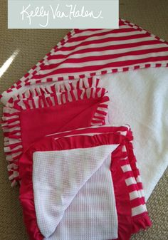 Hot Pink & White stripe w/ white cotton waffle reverse and ruffle trim...a lightweight crib/stroller blanket for summer.