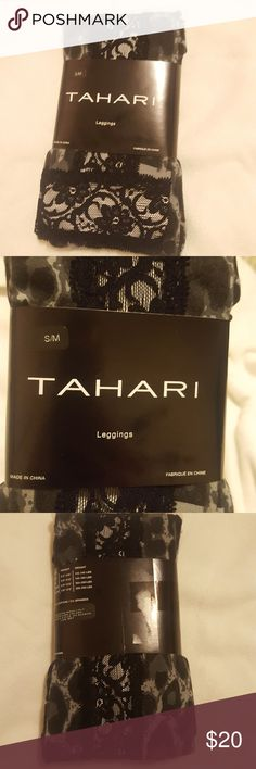 """Tahari Leopard/Lace Leggings NWT Tahari Leopard/Lace Leggings New in packaging Sexy leggings with lace side stripe and lace cuffs The lace goes all the way up to waistband 95% Cotton 5% Spandex Fits 5'2""""-5'6"""" 115-140lbs  Also available in tan leopard Tahari Pants Leggings"""