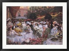 """44/""""x30/"""" LE DINER A L/'HOTEL RITZ PARIS 1904 by PIERRE GEORGES JEANNIOT CANVAS"""