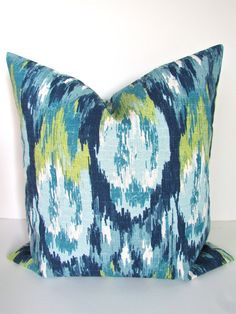 DARK BLUE PILLOW 18x18  Decorative Throw Pillows 18 x 18 Teal Green Navy Blue Throw Pillow Covers Modern Home and Living Geometric