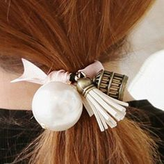 Chic Faux Pearl and Tassel Embellished Elastic Hair Band For Women