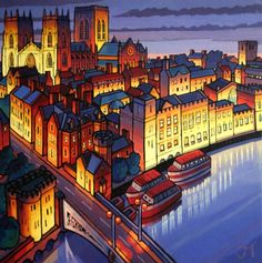 Jim Edwards ~ Towards York Minster Garden Tree House, Art Is Dead, Farne Islands, Alnwick Castle, York Minster, Art Uk, Naive Art, Pictures To Paint, Limited Edition Prints