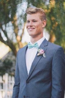 Retro Pastel Wedding Inspiration | Photos - Style Me Pretty Peter you should wear a grey suit.