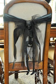 Chairback idea...I could put this on a chair by the front door to scare the little treaters!