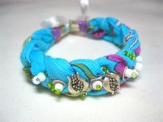 blue cotton fabric bracelet,cuff bracelet, friendship bracelet, best friend bracelet, summer fashion, etnic faric bracelet, charm bracelet by INDAJEWELLERY on Etsy