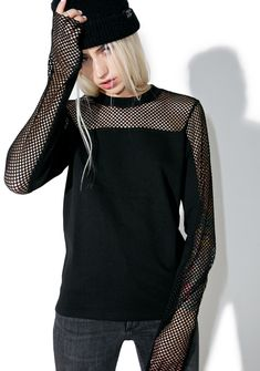 Cheap Monday Vice Sweater is gunna indulge ya, babe. This sikk sweater features a suuuper comfy black construction, slouchy slim fit, black fishnet paneling across the chest and tops of the sleeves, unfinished cuffs, and crew neckline.