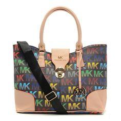 2a2769d454 Michael Kors Logo Signature Lock Large Black Multicolor Satchels Outlet  Michael Kors Outlet